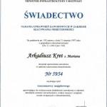 świadectwo nadania uprawnień zawodowych w zakresie szacowania nieruchomości i uzyskania tytułu rzeczoznawcy majątkowego