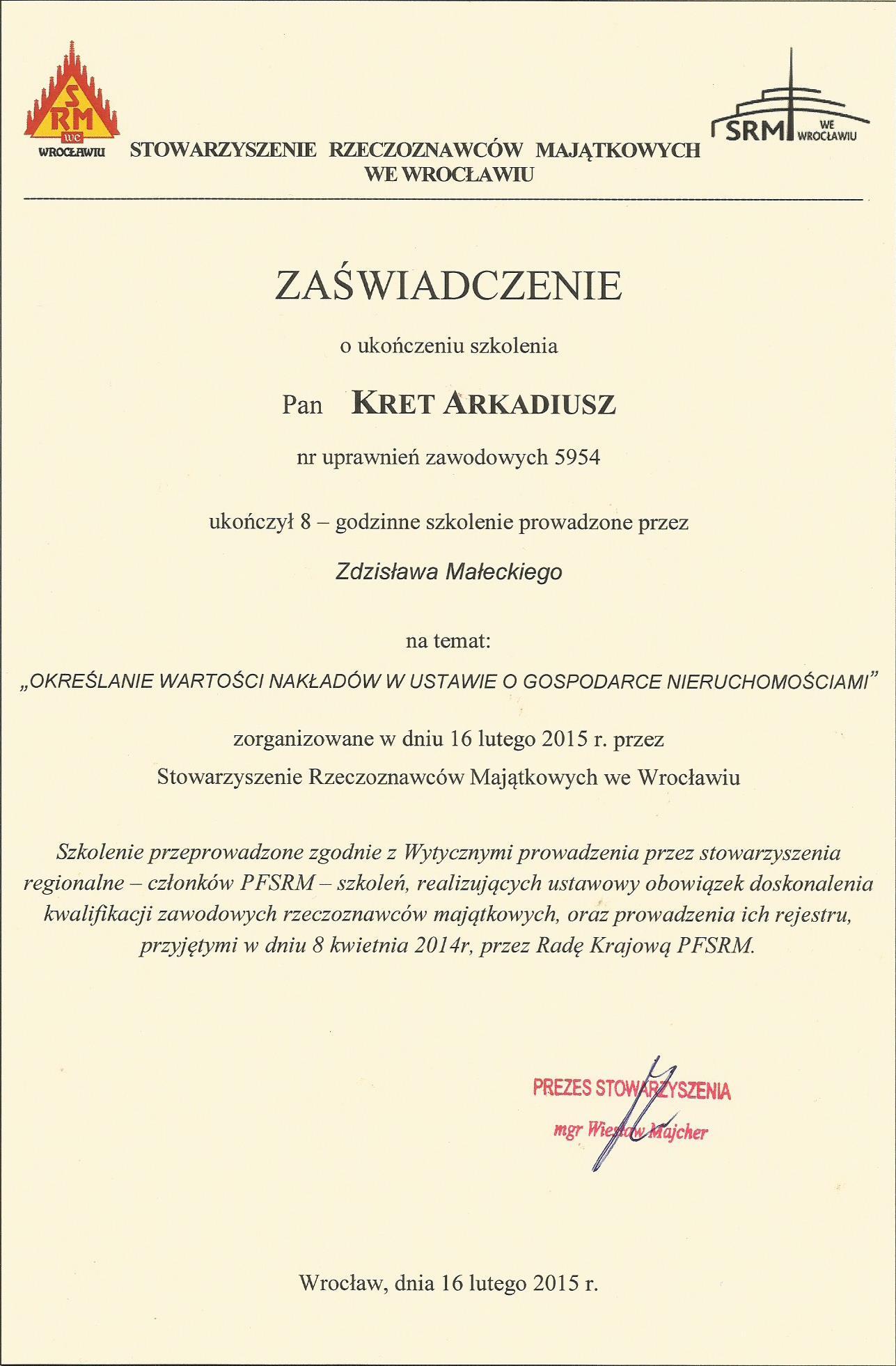 szkolenie z wyceny nakładów - wrocław 2015